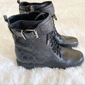 Vince Camuto Tanowie Studded Black MOTO Boot NWOB